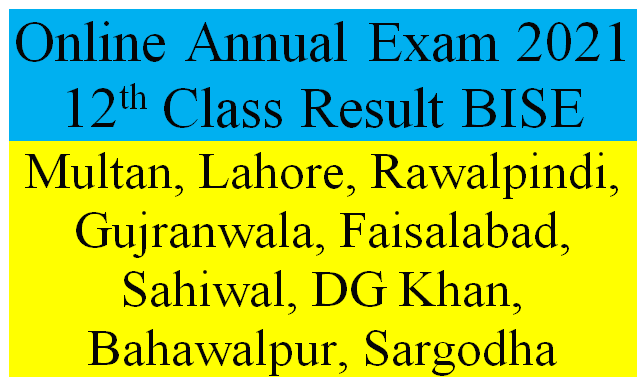 Annual Exam 2021 12th Class Result BISE