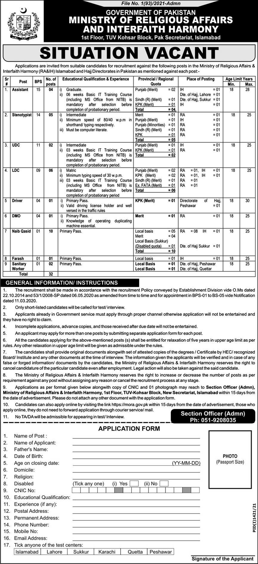 Class IV and Clerical Staff Vacancies in Ministry of Religious Affairs and Interfaith Harmony