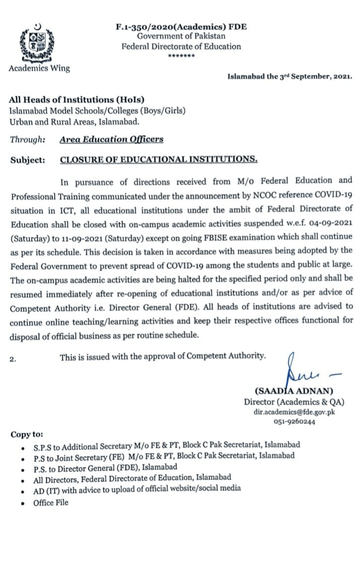 Closure of Educational Institutions Federal Directorate of Education