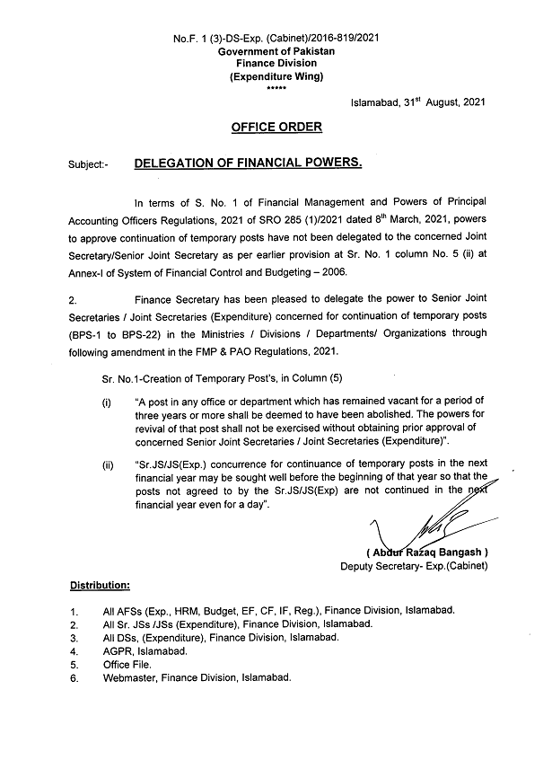 Notification of Abolishing Posts Remained Vacant for Three Years