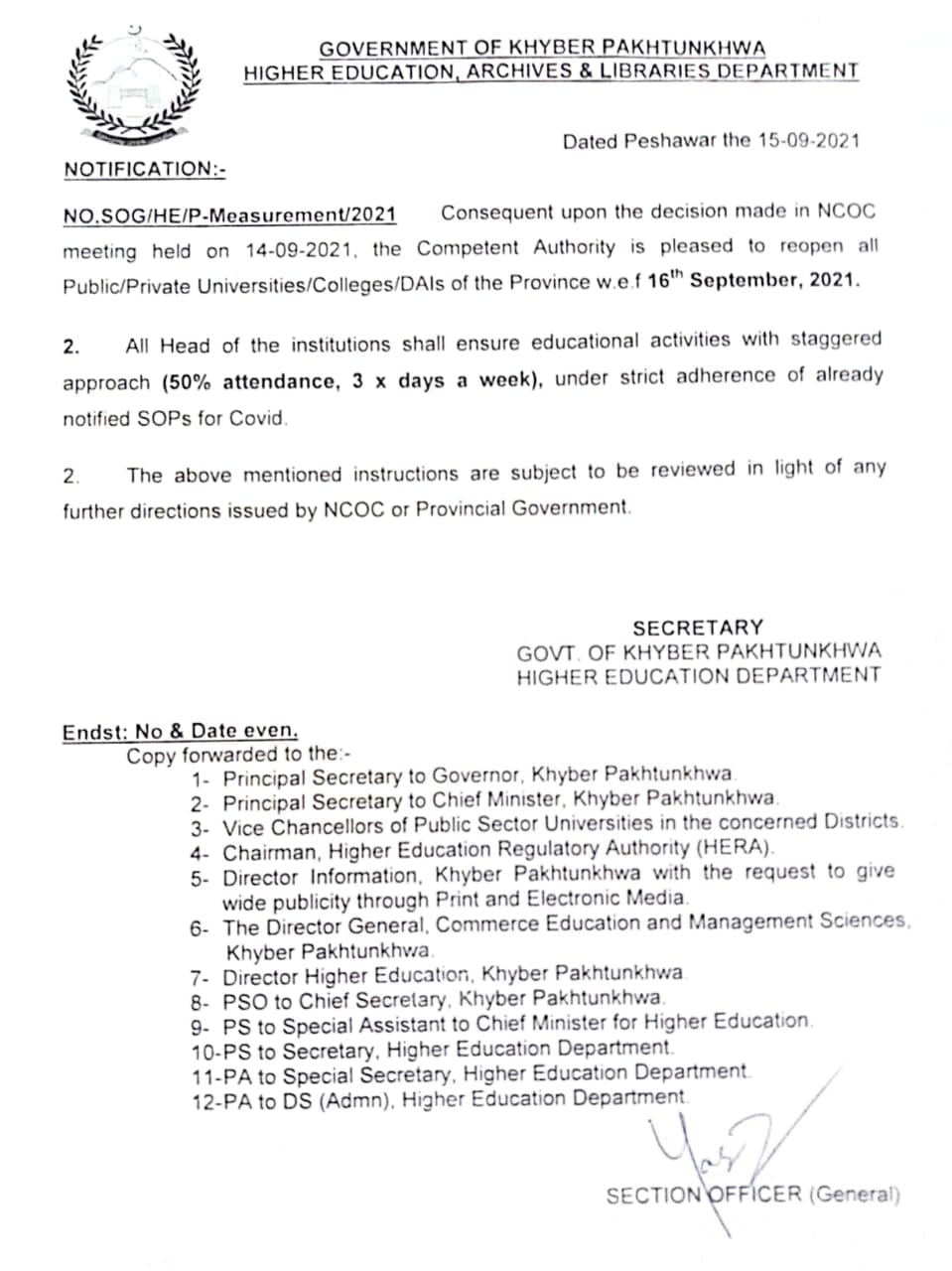 Notification of Re-Opening All Colleges Universities