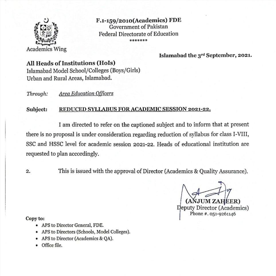Reduced Syllabus for Academic Session 2021-22