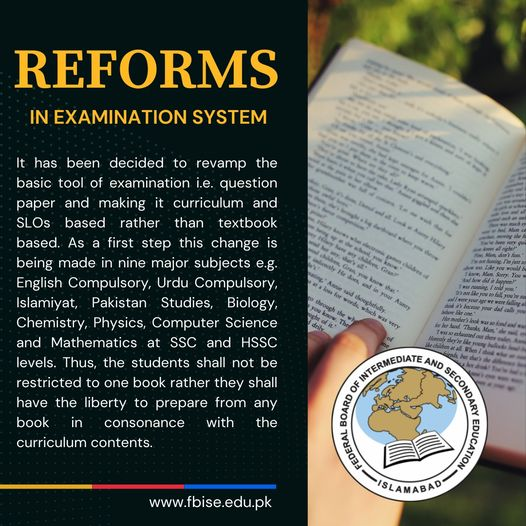 Reforms in Examination System 2021 FBISE Islamabad