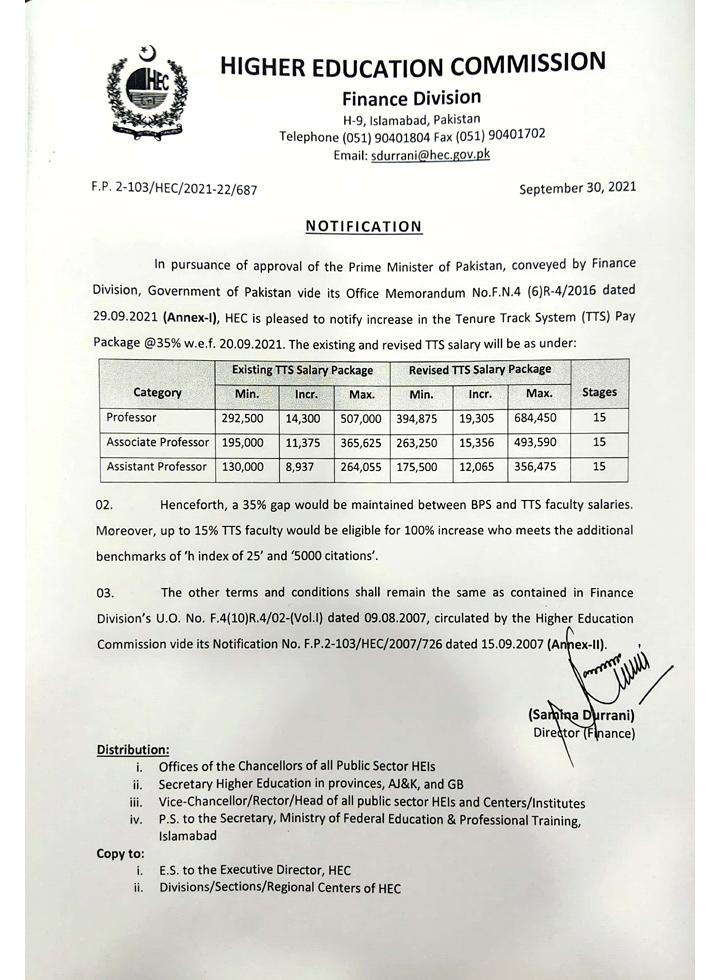 Increase Tenure Track System (TTS) Pay Package 2021