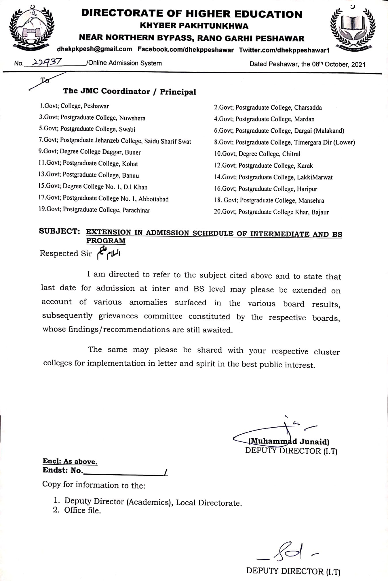 Extension in Admission Schedule Inter and BS Program 2021 KPK
